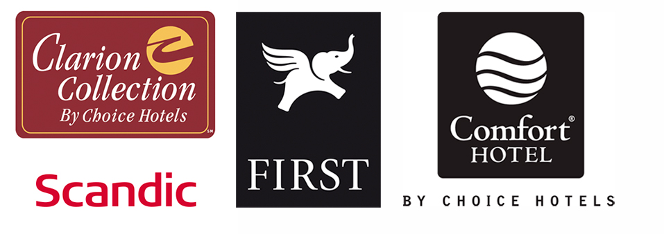 Choice hotels och first hotels logotyper