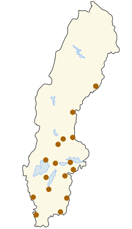 Umeå, Sundsvall, Falun, Borlänge, Karlstad, Örebro, Karlskrona, Norrköping, Eskilstuna, Oskarshamn, Skövde, Varberg,  Nyköping,  Jönköping, Helsingborg och Gävle